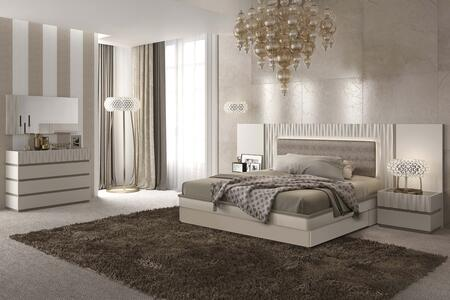ESF Marina Collection i1775X Bed with Storage Kit Eco-Leather Upholstered Headboard and Wooden Slats Frame