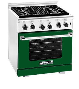 American Range ARR304FG Heritage Classic Series Natural Gas Freestanding Range with Sealed Burner Cooktop, 4.8 cu. ft. Primary Oven Capacity, in Green