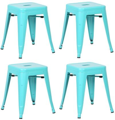 "EdgeMod Trattoria Collection 18"" Set of 4 Stools with Non-Marking Feet Caps, Tapered Legs, Electric-Plated Metal and Powder Coated Iron in"