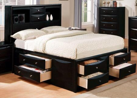 Acme Furniture 1410XX Manhattan Storage Bed with Multiple Drawers, Bookcase Compartment, Brushed Nickel Hardware, Selected Hardwoods and Wood Veneers in Black Finish