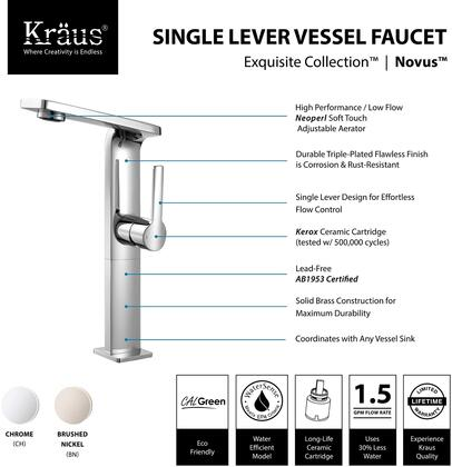 Kraus KEF15400PU1 Exquisite Series Novus Bathroom Vessel Lever Faucet with Solid Brass Construction, Neoperl Aerator, and Included Pop-Up Drain