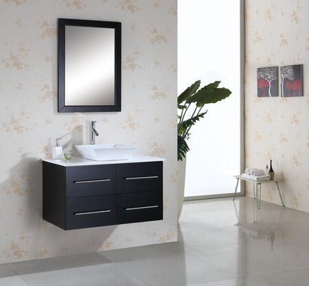 "Virtu USA Marsala MS-565-x-ES 36"" Single Sink Bathroom Vanity in Espresso with Countertop, Mirror, White Ceramic Basin and PS-104 Faucet"
