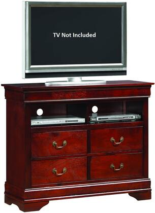 "Glory Furniture 42"" Media Chest with 4 Drawers, 2 Open Compartments, Antique Bronze Hardware, Bracket Feet and Wood Veneer Construction in"