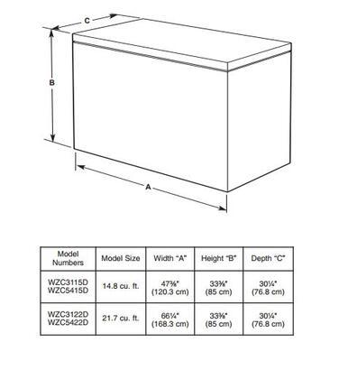 Whirlpool Wzc3122dw 66 Inch Freezer With 21 Cu Ft