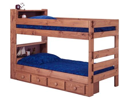 Chelsea Home Furniture 312004-415-X Twin Over Twin Bookcase Bunk Bed, with Rustic Style, Slats, and All Pine Wood Construction in Mahogany Stain