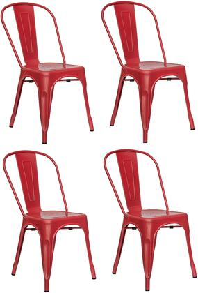 EdgeMod EM112REDX4 Trattoria Series Modern Metal Frame Dining Room Chair