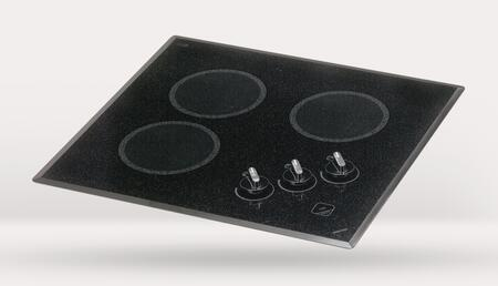 """Kenyon B4050 22"""" Mediterranean Series Smoothtop Electric Cooktop with 3 Burners, Heat-Limiting Cooking Surface and Push-to-Turn Knob Control, in Black"""
