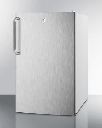 "Summit CM411LSSTX 20"" Medically Approved & ADA Compliant Compact Refrigerator with 4.1 cu. ft. Capacity, Professional Towel Bar Handle, Interior Light and Manual Defrost, in Stainless Steel"