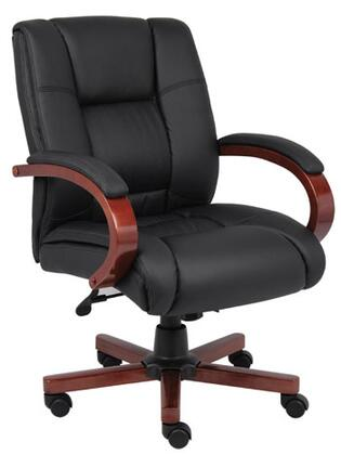 "Boss B8996 40"" Mid Back Executive Wood Finished Chair with Heavy Duty 2 Paddle Spring Tilt Mechanism, Pneumatic Gas Lift Seat Height Adjustment and Infinite Tilt Lock"