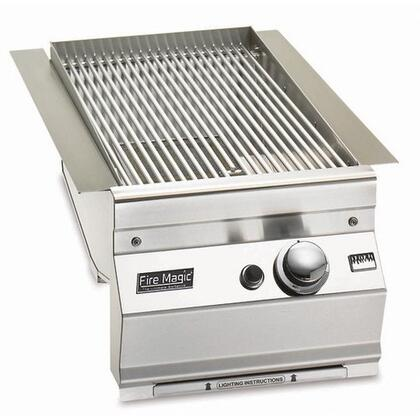 "FireMagic 3287-1X 14"" Built-in Electronic Ignition System X Burner, Contoured Control Panel, 24000 BTU: Stainless Steel"