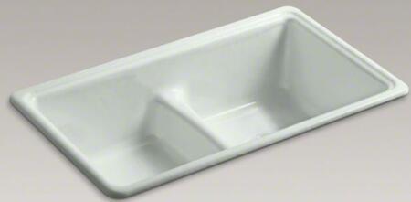 "Kohler Deerfield K-5838-X 33"" Top-Mount/Under-Mount Smart Divide Double-Equal Bowl Kitchen Sink With 2 Basins, Enameled Cast Iron, Center Drain Location, In"