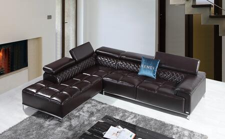 VIG Furniture VGKNK8482BRN Divani Casa Citadel Series Sofa and Chaise Sofa