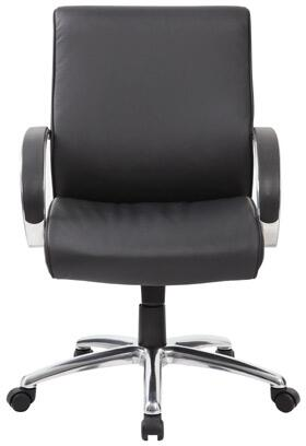 """Boss B7717 38"""" Mid-Back Executive Chair with Knee Tilt,  Sprint Tilt Mechanism, Pneumatic Gas Lift Seat Height Adjustment, and Adjustable Tilt Tension Control in Black Upholstery"""