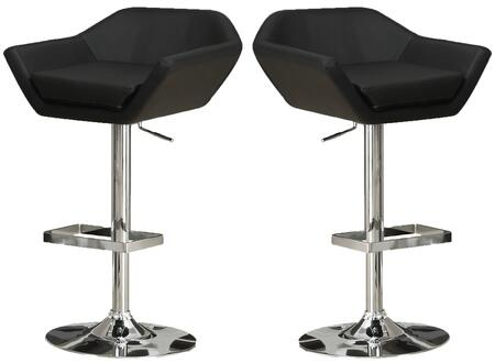 Monarch I 230XX Set of 2 Adjustable Bar Stools, with Low Arms, Hydraulic Lift System, and Chrome Finished Metal Frame, in Faux Leather