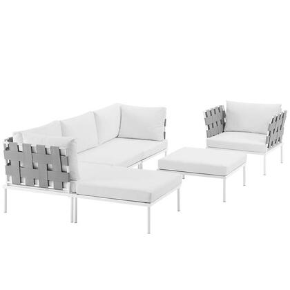 Modway Harmony Collection EEI-2626-WHI- 6-Piece Outdoor Patio Aluminum Sectional Sofa with Armchair, Armless Chair, 2 Corner Sofas and 2 Ottomans in