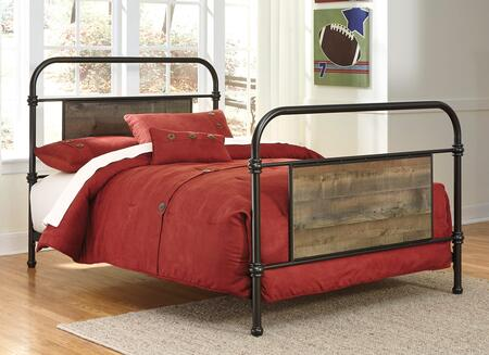 Milo Italia Becker BR-5497X Metal Bed with Replicated Oak Grain Insert Panels, Turned Accents and Plank Details in Brown