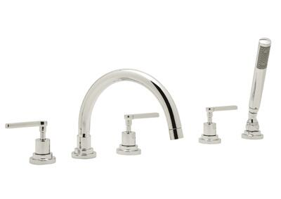 Rohl A2214XM Modern Bath Collection Lombardia 5-Hole Deck Mount Bath Mixer with C Spout and Cross Handles: