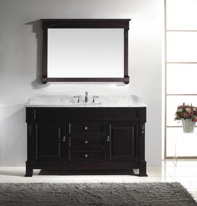 "Virtu USA GS-4060 Virtu USA 60"" Huntshire Single Sink Bathroom Vanity in Dark Walnut with Italian Carrara White Marble"