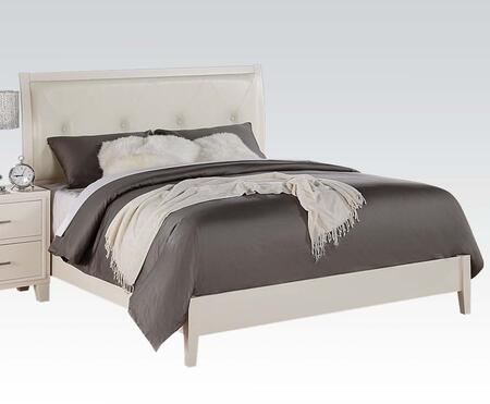 Acme Furniture Tyler Sleigh Bed with Button Tufted Headboard, Box Spring Required, PU Leather Upholstery, Solid Rubberwood and Gum Veneer Materials in White Color
