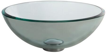 """Kraus GV10114X Singletone Series 14"""" Round Vessel Sink with 12-mm Tempered Clear Glass Construction, Easy-to-Clean Polished Surface, and Included Pop-Up Drain with Mounting Ring"""