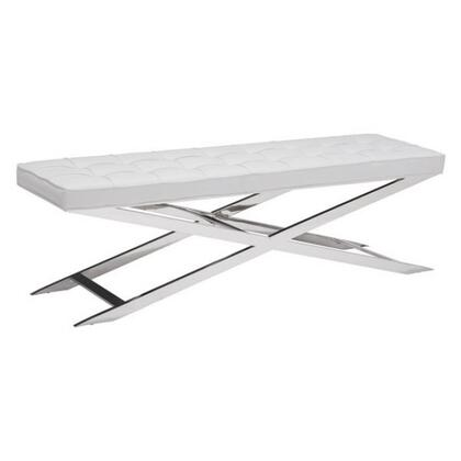 "Zuo 10033 Pontis 59"" Bench with Stainless Steel Frame and Tufted Cushions"