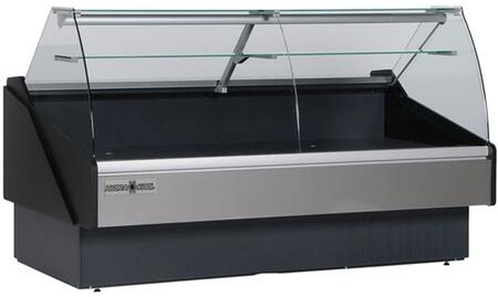 Hydra-Kool KPMCGxR Curved Glass Deli Case with Cooling BTU, Tilt Out Curved Tempered Front Glass, Rear Tempered Sliding Doors, in Black