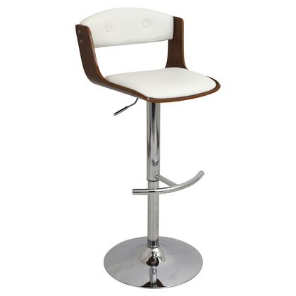 """LumiSource Scucci BS-JY-SCC WL 34"""" - 43"""" Barstool with 360 Degree Swivel, Chrome Footrest and Button-tufted Backrest in"""