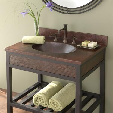 """Native Trails VNT24 24"""" Sedona Vanity Top with Basin, 1.5"""" Drain, Hand Hammered Copper and Finished in"""