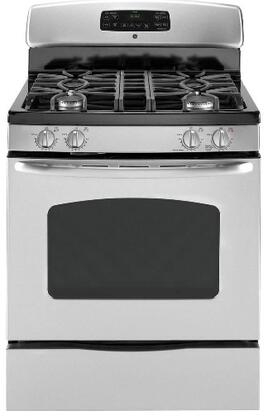 """GE JGB428SERSS 30"""" Gas Freestanding Range with 4 Sealed Burner Cooktop Storage 5.0 cu. ft. Primary Oven Capacity 