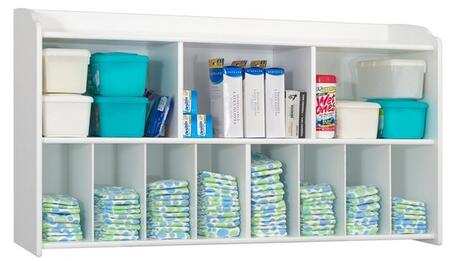 "Foundations Serenity Series 1772XXX 45"" Diaper Organizer and Storage Wall Unit with 3 Large Shelves and 8 Smaller Storage Compartments"