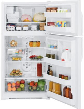 GE GTH21KCXWW Freestanding Top Freezer Refrigerator with 21.0 cu. ft. Total Capacity 4 Glass Shelves 6.1 cu. ft. Freezer Capacity |Appliances Connection