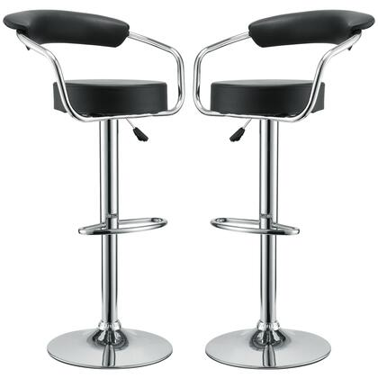 Modway EEI-930-XXX Diner 2x Modern Bar Stools with Steel Frame, 360 Degree Swivel, Adjustable Height, and Vinyl Upholstery