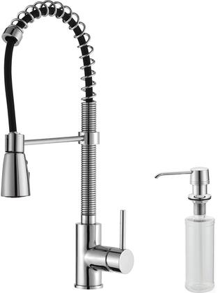 Kraus KPF1612KSD30 Commercial-Style Series Pull Down Kitchen Faucet with Solid Brass Construction, Easy-Clean Rubber Nozzles, Kerox Ceramic Cartridge, and Included Soap Dispenser
