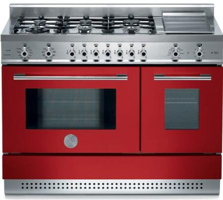Bertazzoni X486GPIRROLP Professional Series Dual Fuel Freestanding Range with Sealed Burner Cooktop, 2.9 cu. ft. Primary Oven Capacity, in Red