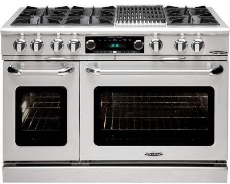 "Capital Culinarian Series COB484B2-X 48"" Freestanding Dual Fuel Electric Range with 6 Open Burners, Primary 4.6 Cu. Ft. Oven Cavity, Secondary 2.1 Cu. Ft. Oven Cavity, and Moto-Rotis, in Stainless Steel"