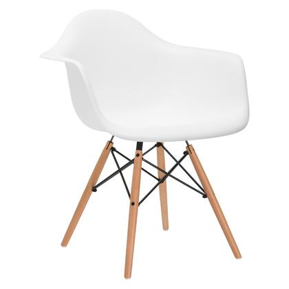 EdgeMod EM110NATWHI Vortex Series Modern Wood Frame Dining Room Chair