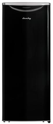 """Danby DAR110A2 24"""" Apartment Size Refrigerator with 11 Cu. Ft. Storage Capacity, Black Interior, 3 Glass Shelves, 5 Door Shelves, Automatic Defrost, Scratch Resistant Worktop and Interior White LED Light, in"""