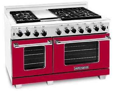 American Range ARR486GRBR Heritage Classic Series Natural Gas Freestanding Range with Sealed Burner Cooktop, 4.8 cu. ft. Primary Oven Capacity, in Red