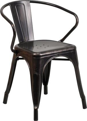 """Flash Furniture 21.5"""" Bistro Chair with Integrated Arms, Lightweight Design, Curved Back, Powder Coat Finish and Galvanized Steel Construction in"""