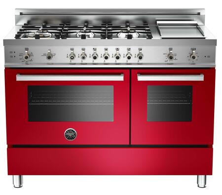 """Bertazzoni PRO486GGASROLP 48"""" Professional Series Gas Freestanding Range with Sealed Burner Cooktop, 3.6 cu. ft. Primary Oven Capacity, Storage in Red"""