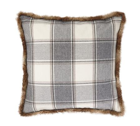 """Signature Design by Ashley Smythe Collection A100031XP Single 20"""" x 20"""" Pillow with Faux Fur Trim, Plaid Design and Polyester Cover in"""