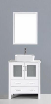 """Bosconi AW130RCXX XX"""" Single Vanity with Phoenix Stone Counter Top, Rectangle Ceramic Vessel Sink, Matching Mirror, X Soft Closing Drawers, Cabinet, and Silver Hardware Finish in White Finish"""