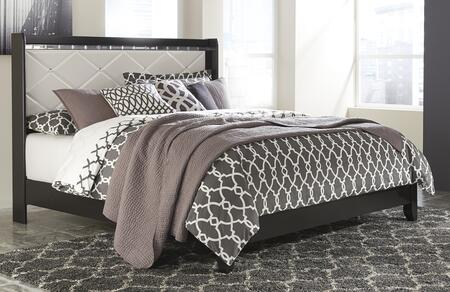 Signature Design by Ashley Fancee B348 Size Panel Bed with Faux Crystal Accented Knobs, Beveled Mirror Accent Molding, Tapered Legs and 3D Pressed Headboard in Black Finish