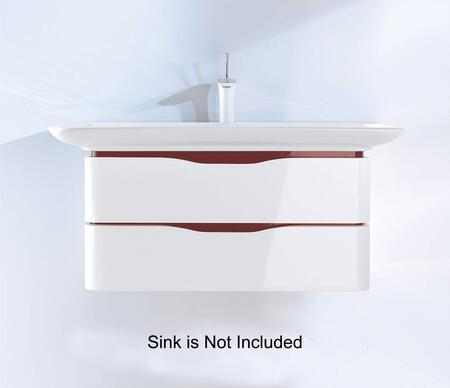 """Duravit PuraVida PV6769085XX 32"""" Wall Mounted Vanity with Recessed Grip, 2 Drawers and Rounded Corners in White High Gloss with X Interior Handle"""