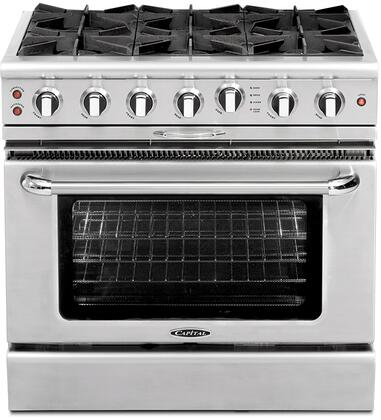 "Capital CGSR366L 36"" Culinarian Series Gas Freestanding Range with Open Burner Cooktop, 4.6 cu. ft. Primary Oven Capacity, in Stainless Steel"