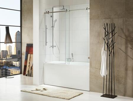 Picture of 0ASBS03 Trident - Premium 38 in 10mm Thick Clear Tempered Glass  59 12 in W x 62 in H  Frameless Sliding Shower Door in