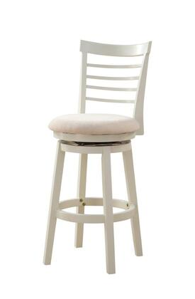 Powell Harbour Collection 15B8152 Stool with PU Upholstered Seat, 360 Degree Swivel and Curved Wood Slat Back in White