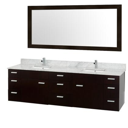 "Wyndham Collection WCS400078ES Encore 78"" Modern Double Vanity, with 70"" Mirror, Water Resistant Espresso Finish, Nine Drawers, Two Doors, Porcelain Undermount Sink, and Stone Top"