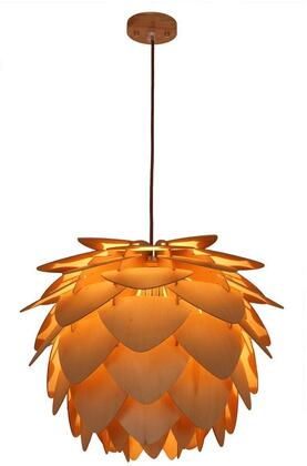 EdgeMod Petals Collection Pendant Lamp with Brown Fabric Cord, Fully Dimmable, LED Light Compatible and Wood Construction in Natural Finish