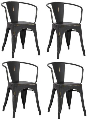 EdgeMod EM113DISBLKX4 Trattoria Series Modern Metal Frame Dining Room Chair